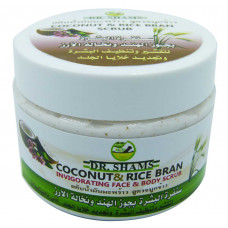 Skin scrub with coconut-and rice-bran